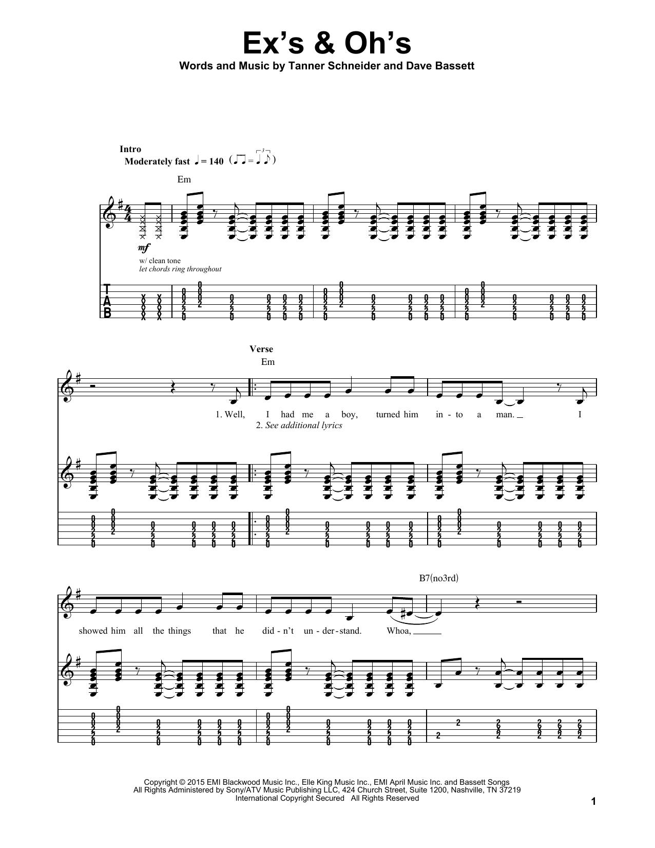 Ex's & Oh's (Guitar Tab (Single Guitar))