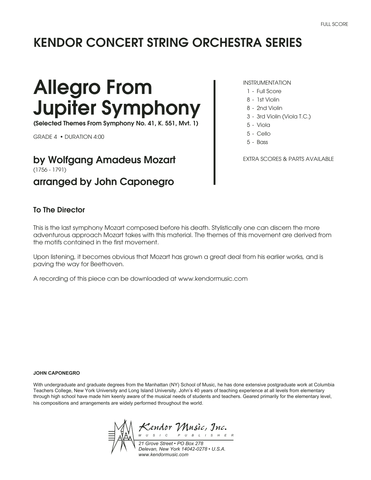 Allegro From Jupiter Symphony (COMPLETE) sheet music for orchestra by John Caponegro and Wolfgang Amadeus Mozart. Score Image Preview.