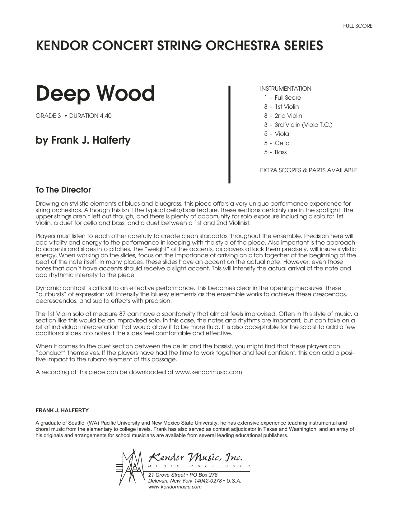 Deep Wood (COMPLETE) sheet music for orchestra by Frank J. Halferty. Score Image Preview.