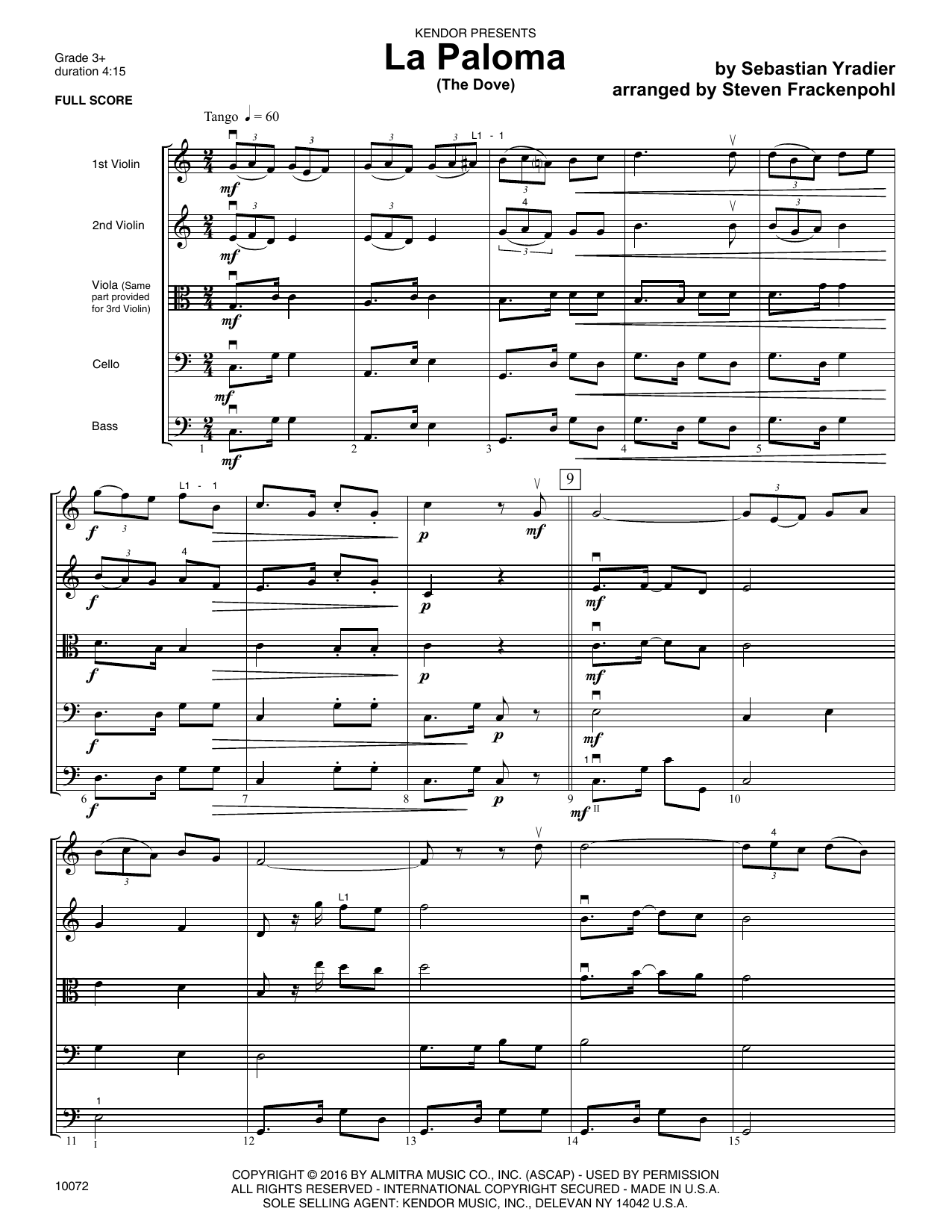 La Paloma (The Dove) (COMPLETE) sheet music for orchestra by Steve Frackenpohl and Sebastian Yradier. Score Image Preview.