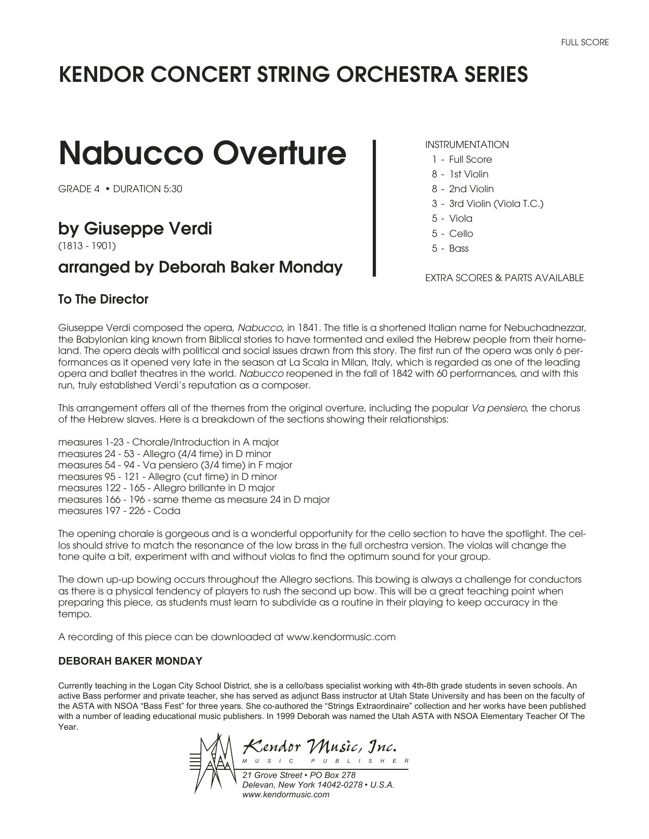 Nabucco Overture (COMPLETE) sheet music for orchestra by Deborah Baker Monday and Giuseppe Verdi. Score Image Preview.