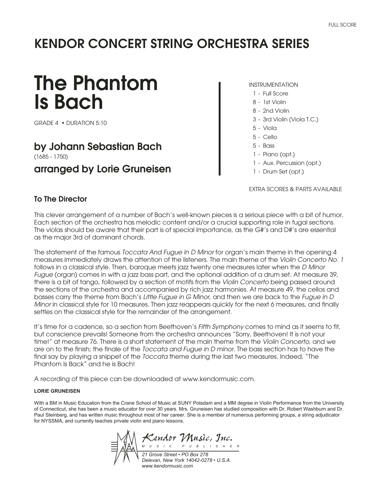 The Phantom Is Bach (COMPLETE) sheet music for orchestra by Lorie Gruneisen and Johann Sebastian Bach. Score Image Preview.