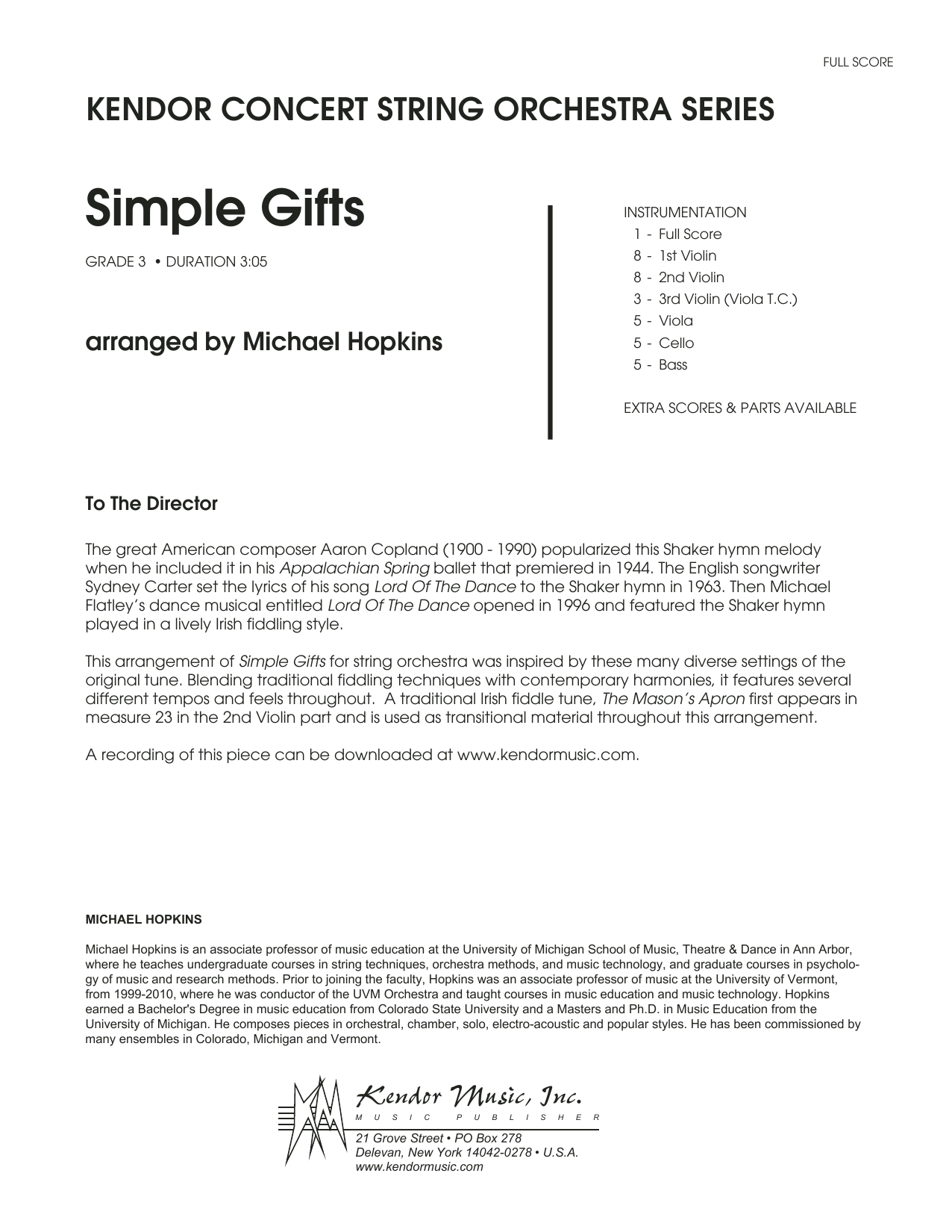 Simple Gifts (COMPLETE) sheet music for orchestra by Michael Hopkins and Miscellaneous. Score Image Preview.