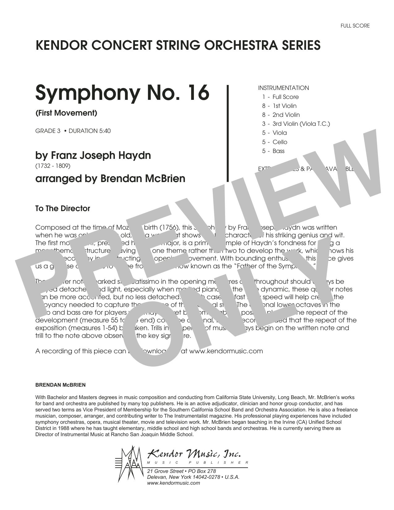 Symphony No. 16 (First Movement) (COMPLETE) sheet music for orchestra by Brian McBrien and Franz Joseph Haydn. Score Image Preview.