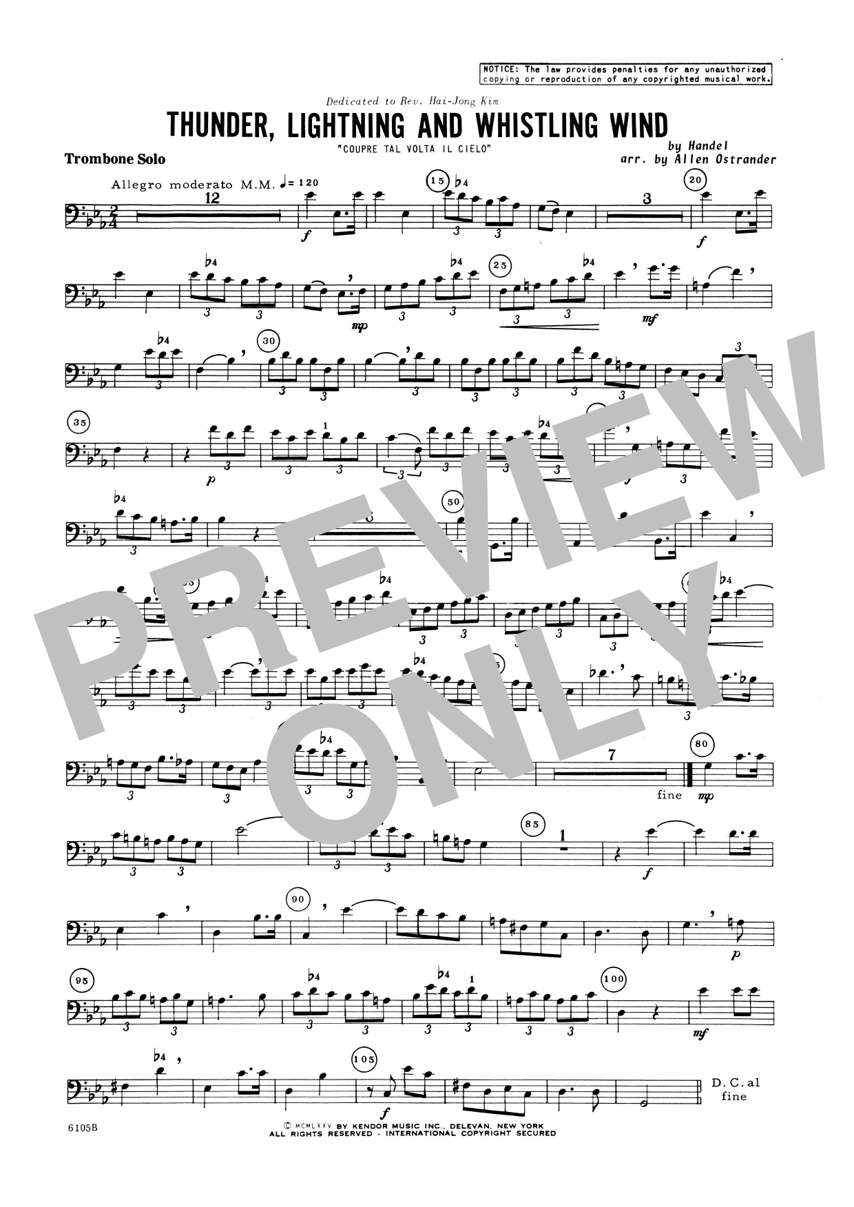 Thunder, Lightning And Whistling Wind (Coupre Tal Volta Il Cielo) (complete set of parts) sheet music for trombone and piano by George Frideric Handel. Score Image Preview.