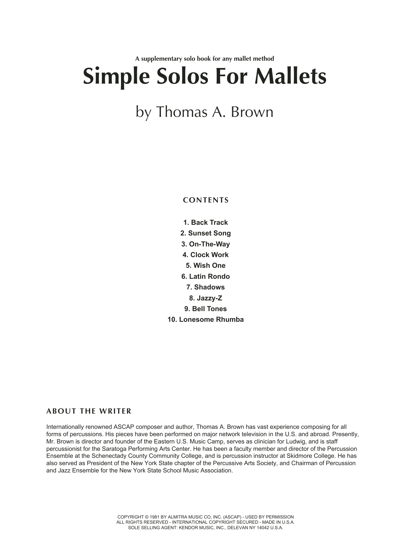Simple Solos For Mallets Sheet Music