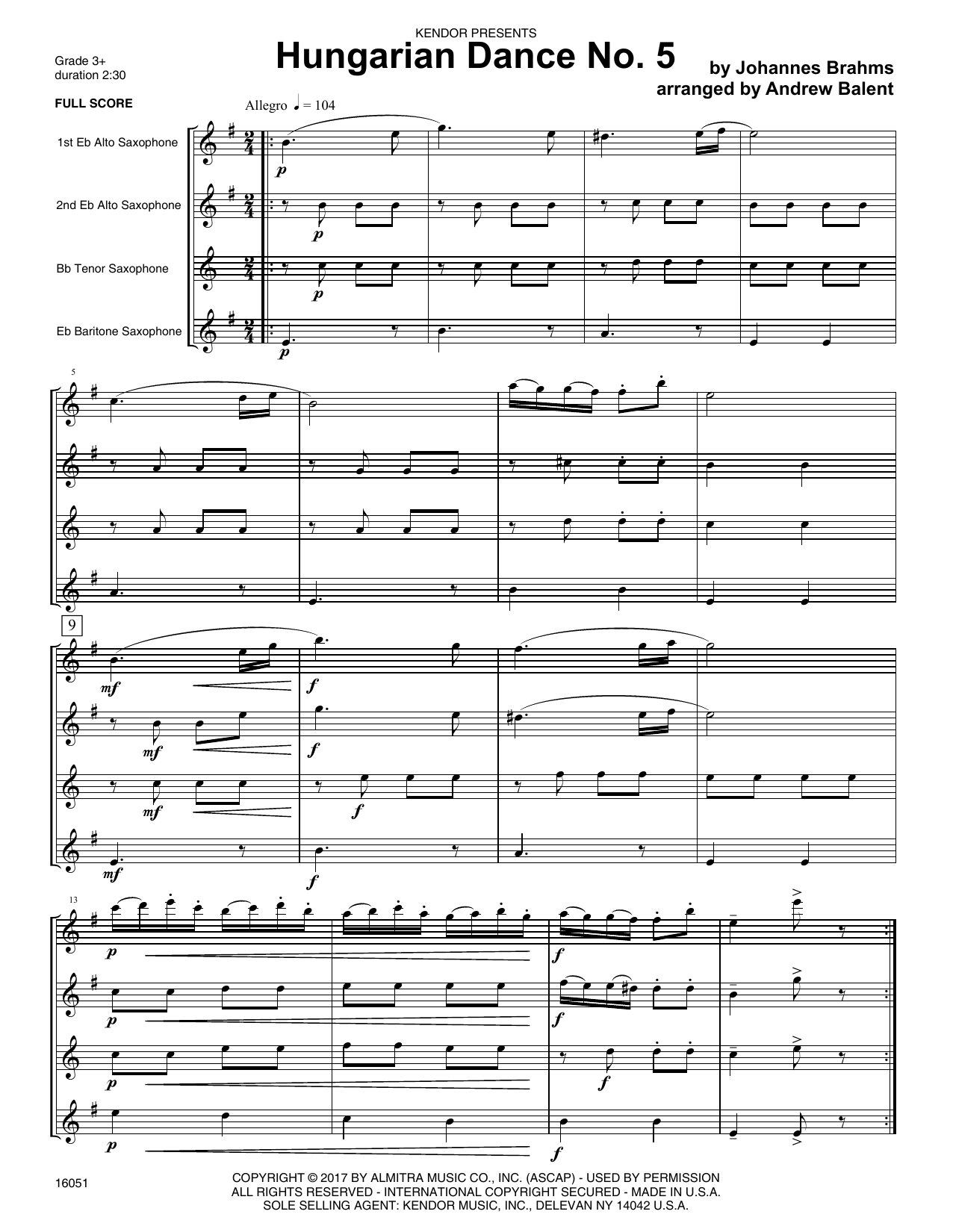 Hungarian Dance No. 5 (COMPLETE) sheet music for saxophone quartet by Andrew Balent and Johannes Brahms. Score Image Preview.