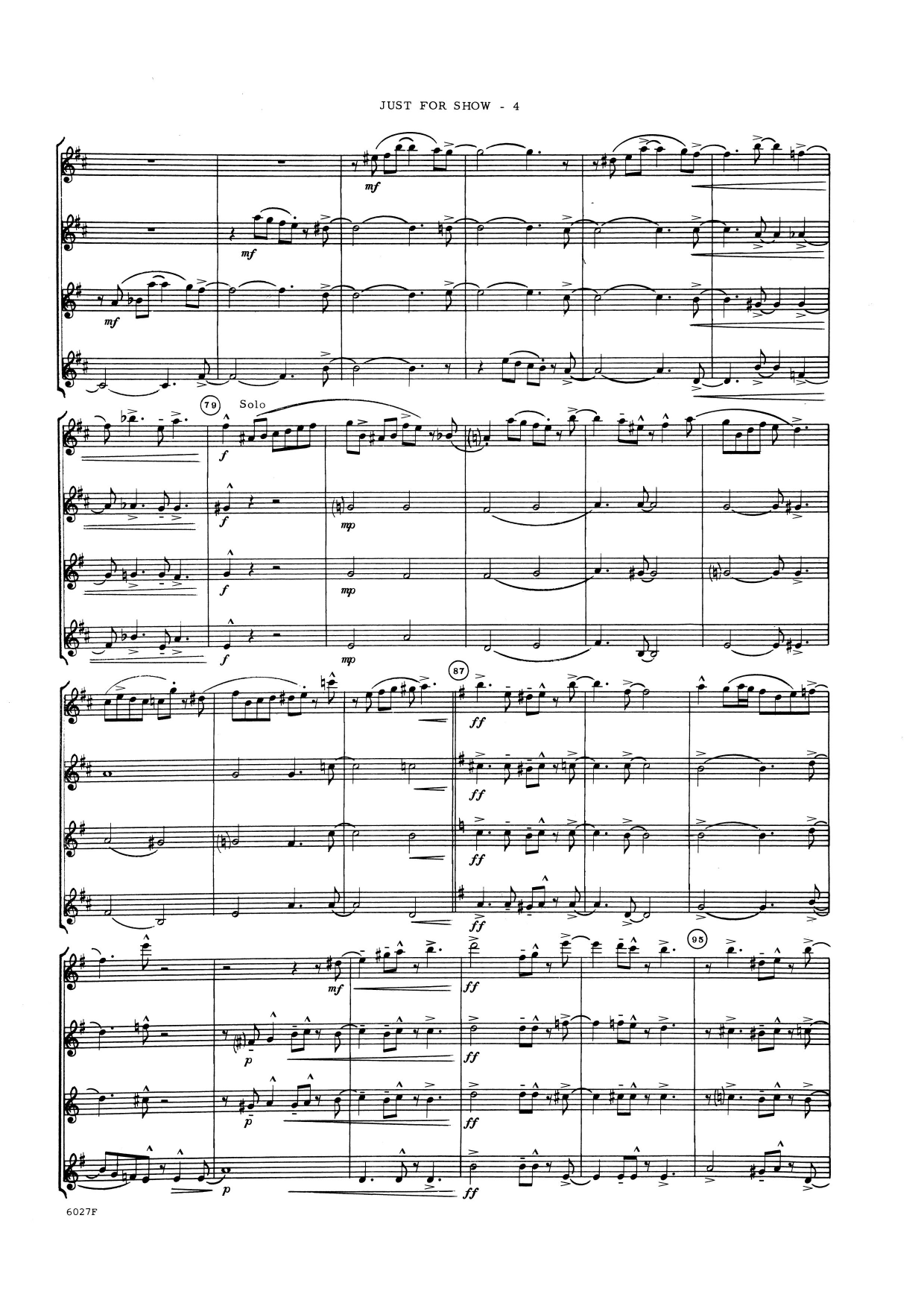 Just For Show (COMPLETE) sheet music for saxophone quartet by Lennie Niehaus. Score Image Preview.