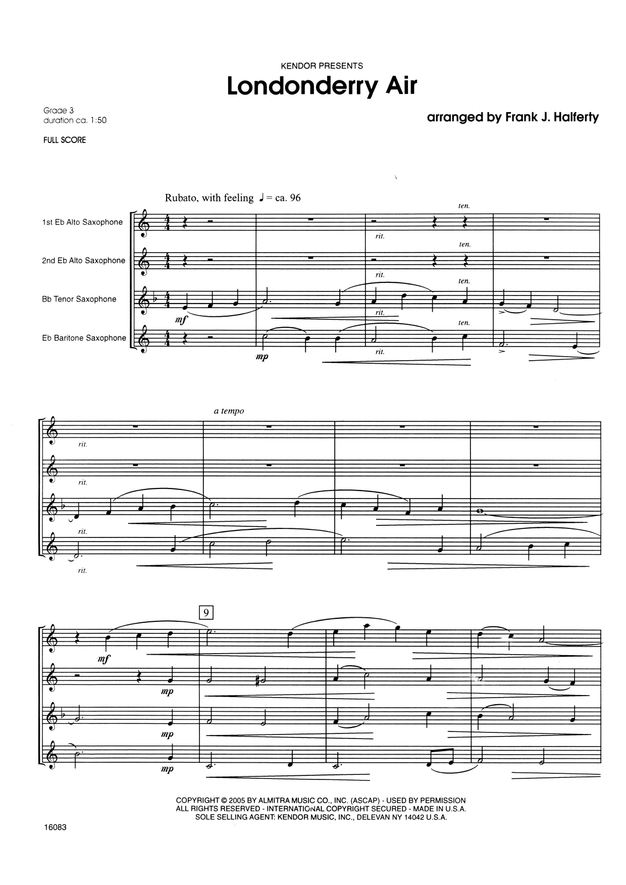 Londonderry Air (COMPLETE) sheet music for saxophone quartet by Frank J. Halferty and Miscellaneous. Score Image Preview.