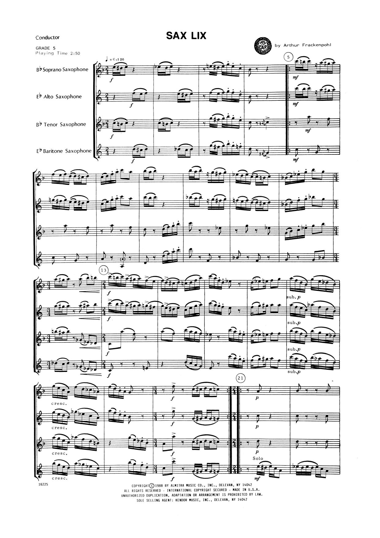 Sax Lix (COMPLETE) sheet music for saxophone quartet by Arthur Frackenpohl. Score Image Preview.