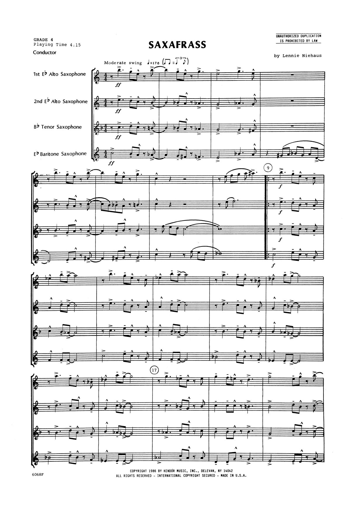 Saxafrass (COMPLETE) sheet music for saxophone quartet by Lennie Niehaus. Score Image Preview.