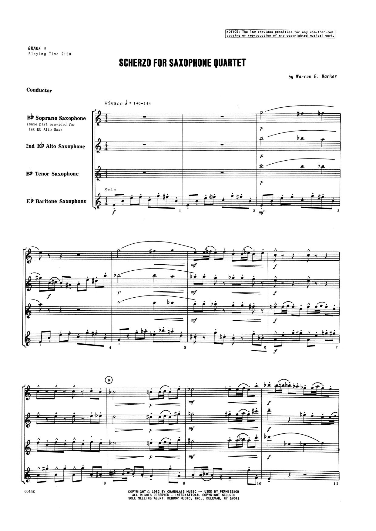 Scherzo for Saxophone Quartet (COMPLETE) sheet music for saxophone quartet by Warren Barker. Score Image Preview.