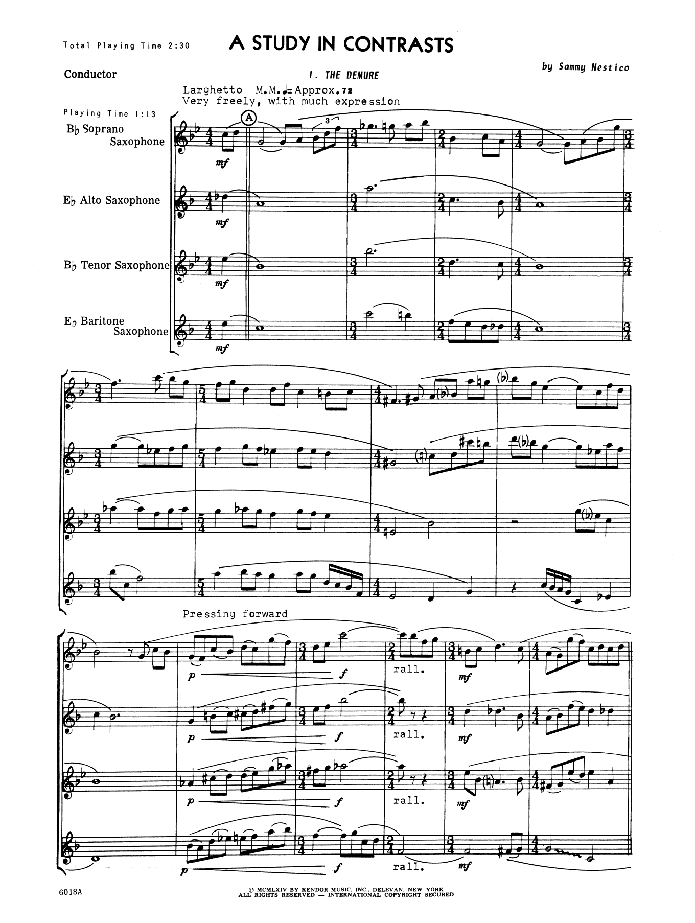 A Study In Contrasts (COMPLETE) sheet music for saxophone quartet by Sammy Nestico. Score Image Preview.