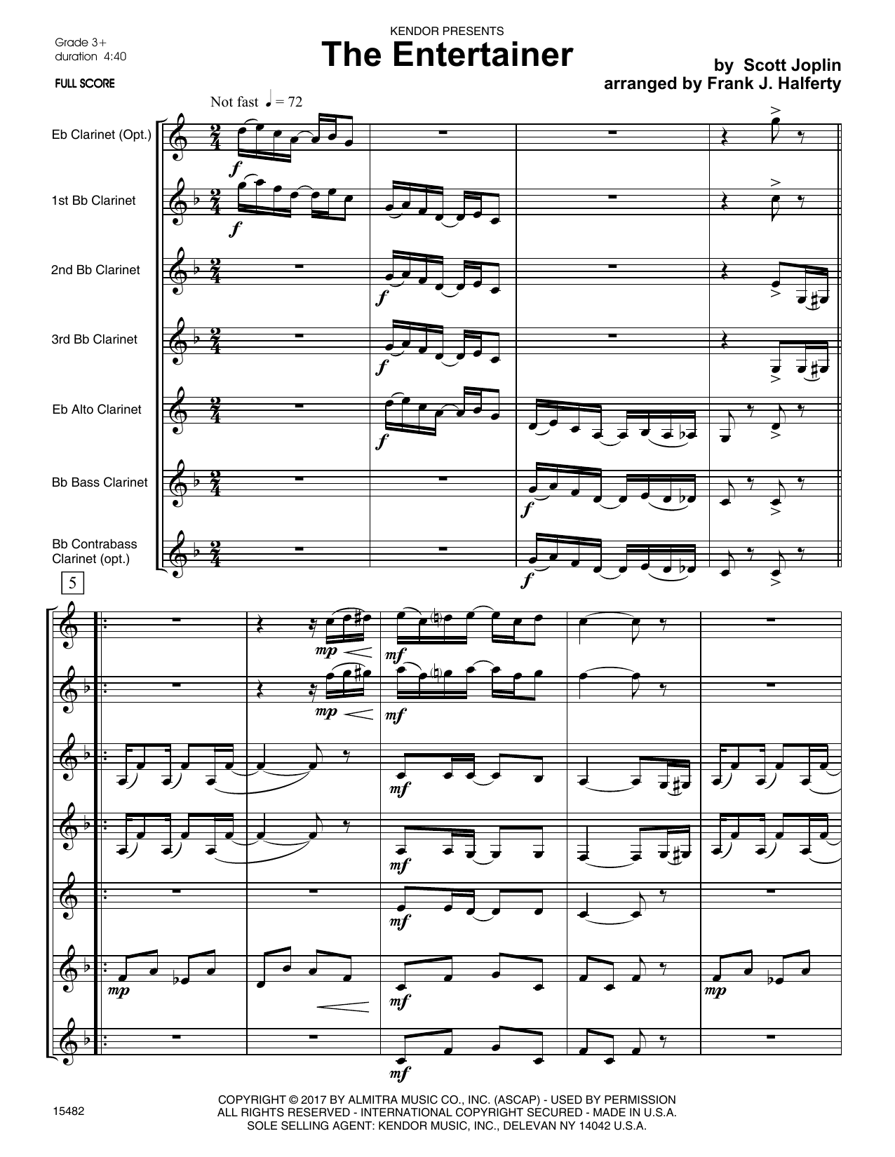 The Entertainer (COMPLETE) sheet music for clarinet septet by Frank J. Halferty and Scott Joplin. Score Image Preview.