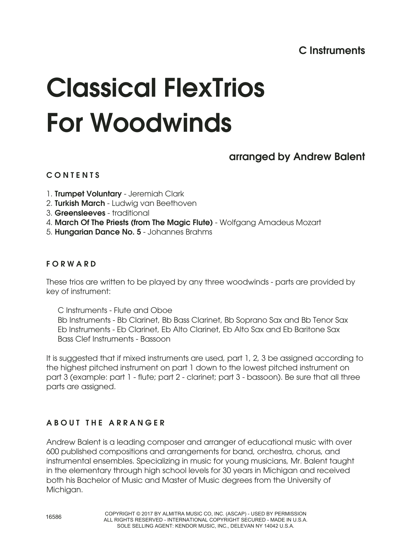 Classical FlexTrios For Woodwinds (complete set of parts) sheet music for wind ensemble by Andrew Balent. Score Image Preview.