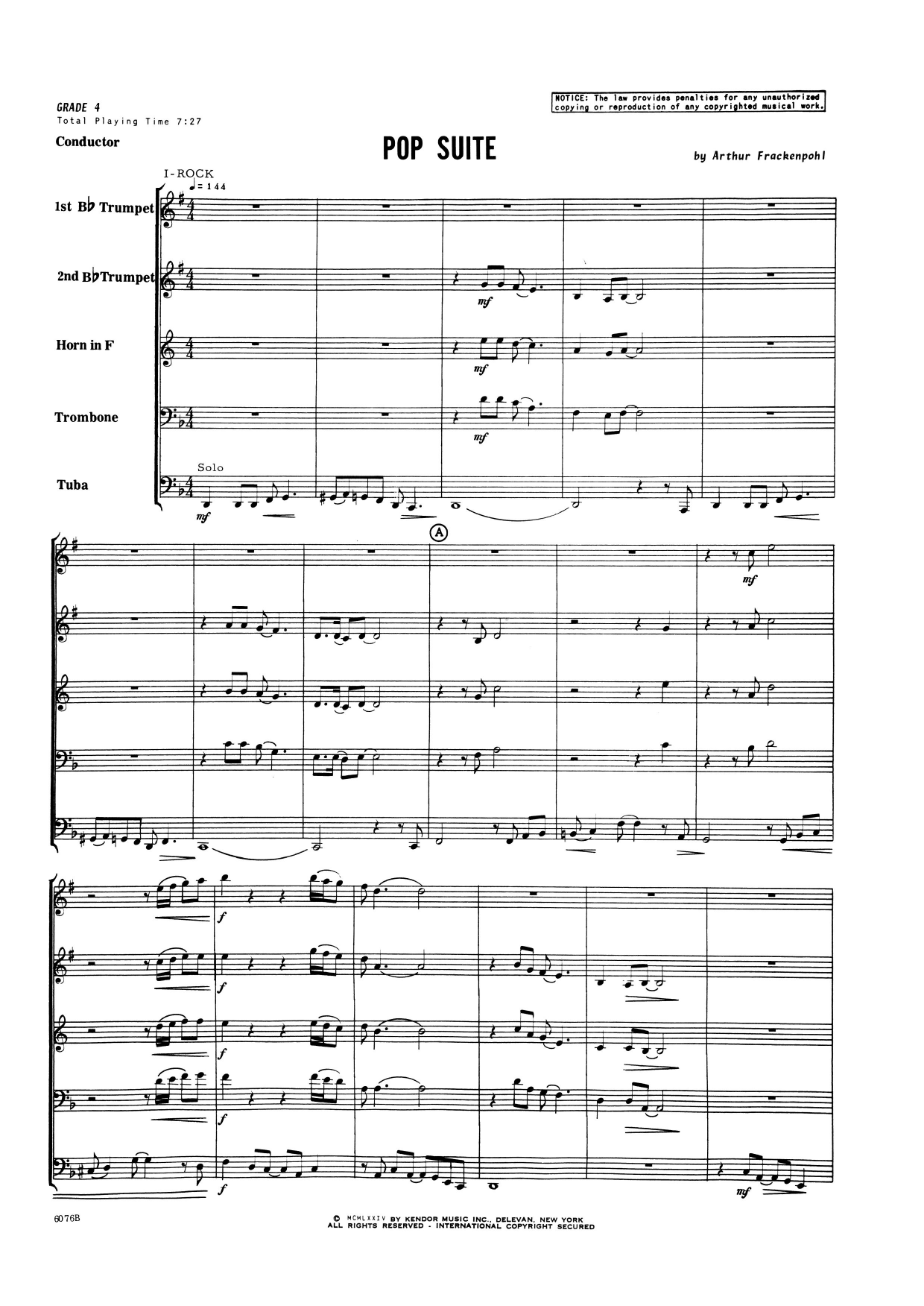 Pop Suite (COMPLETE) sheet music for brass quintet by Arthur Frackenpohl. Score Image Preview.