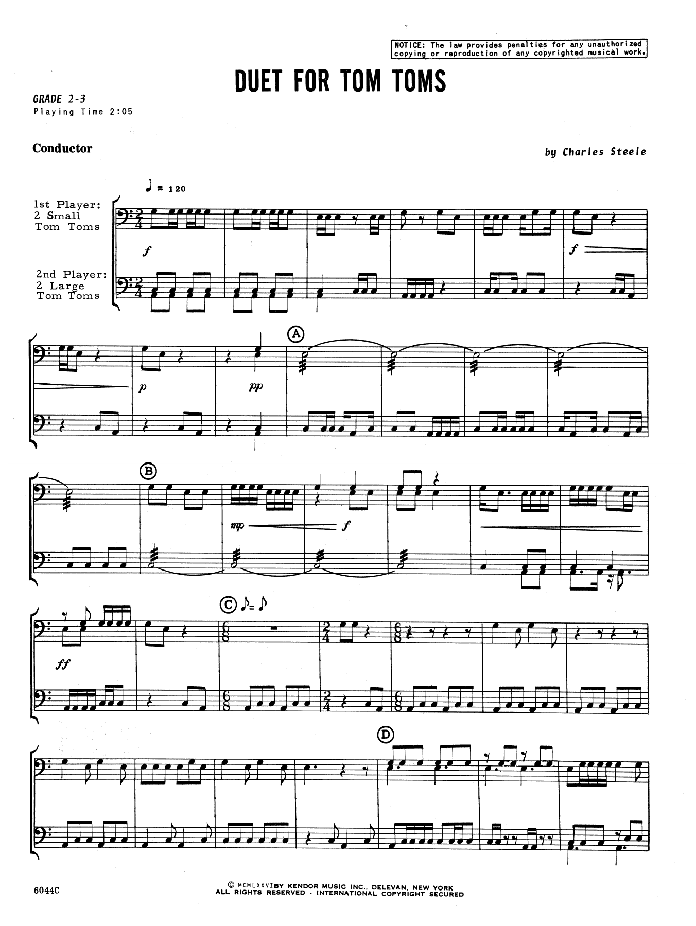 Duet For Tom Toms (COMPLETE) sheet music for percussions by Charles Steele. Score Image Preview.