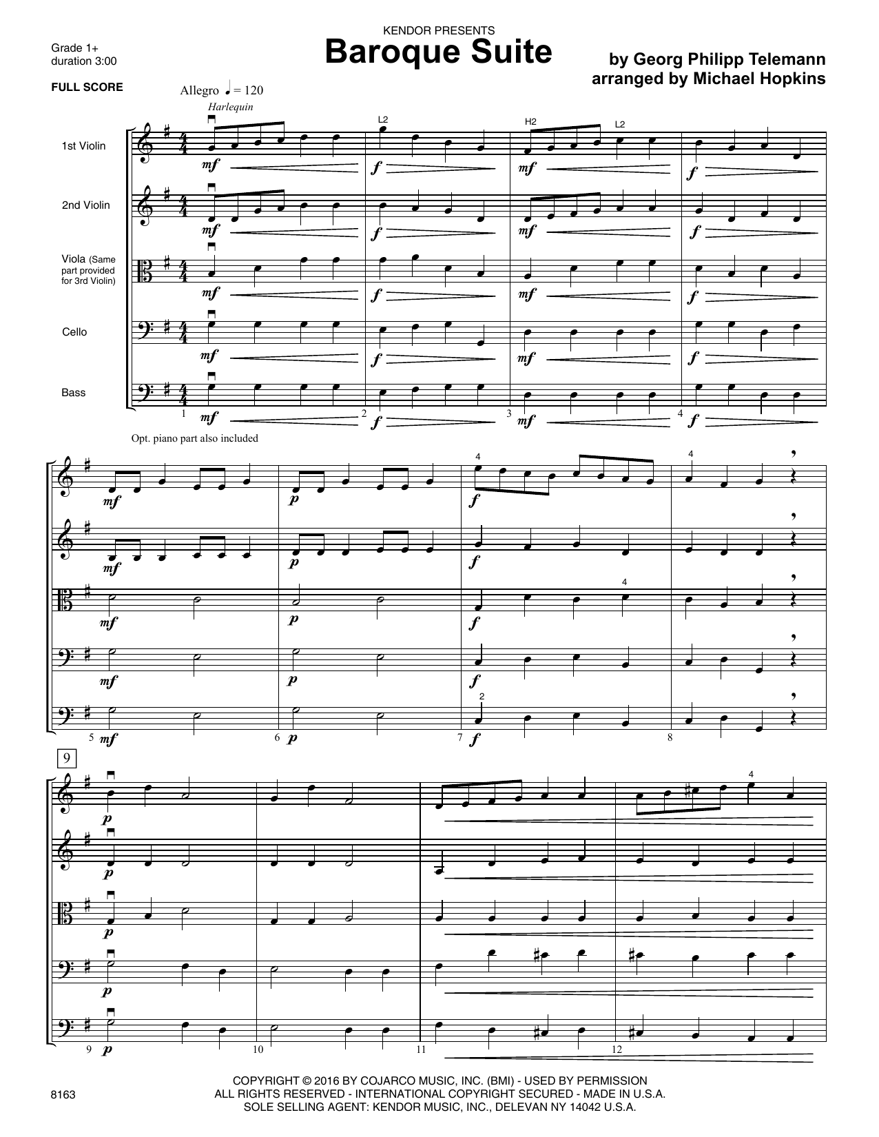 Baroque Suite (COMPLETE) sheet music for orchestra by Michael Hopkins and Georg Philipp Telemann. Score Image Preview.