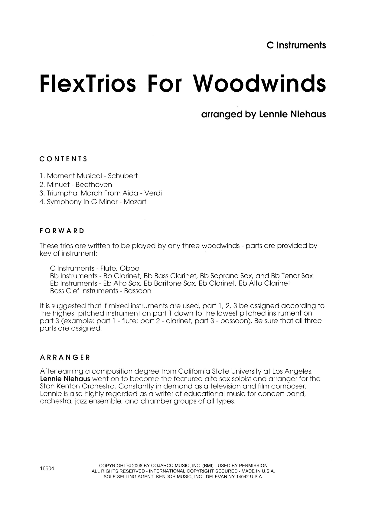 FlexTrios For Woodwinds (playable by any three woodwind instruments) (complete set of parts) sheet music for wind ensemble by Lennie Niehaus. Score Image Preview.