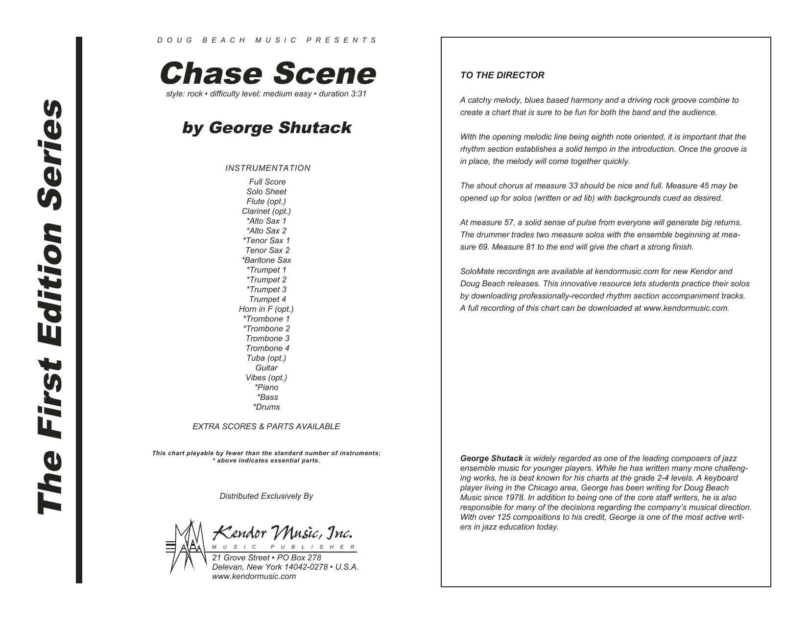 Chase Scene (COMPLETE) sheet music for jazz band by George Shutack. Score Image Preview.