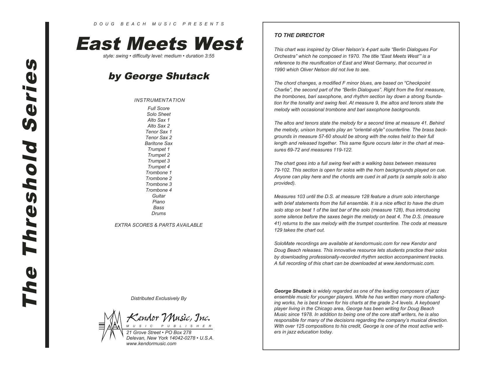 East Meets West (COMPLETE) sheet music for jazz band by George Shutack. Score Image Preview.