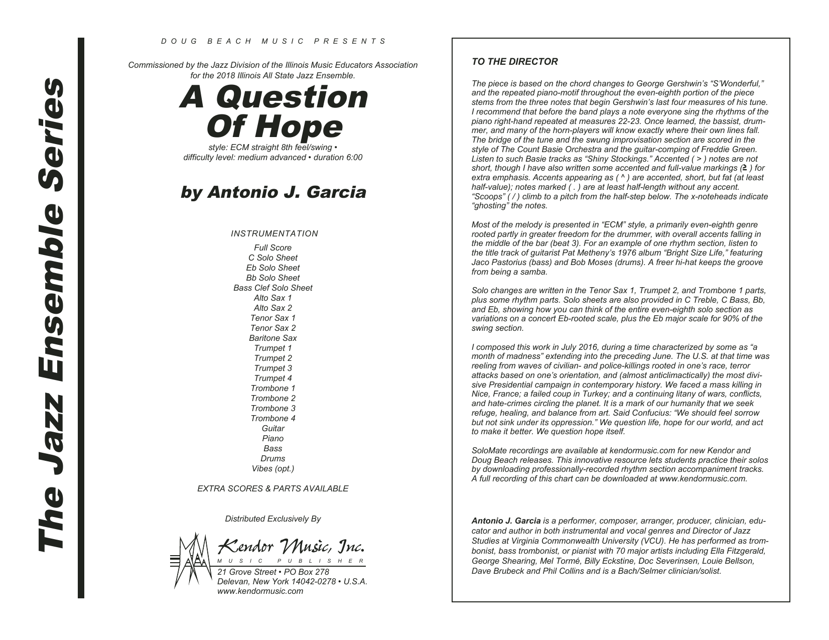 A Question Of Hope (COMPLETE) sheet music for jazz band by Antonio Garcia. Score Image Preview.