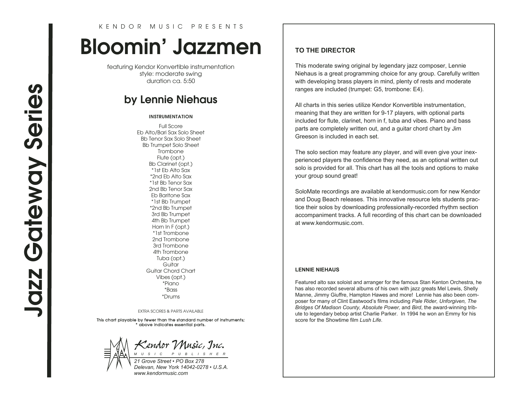 Bloomin' Jazzmen (COMPLETE) sheet music for jazz band by Lennie Niehaus. Score Image Preview.