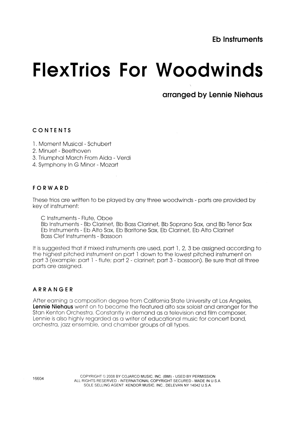 FlexTrios For Woodwinds (playable by any three woodwind instruments) - Eb Instruments Sheet Music