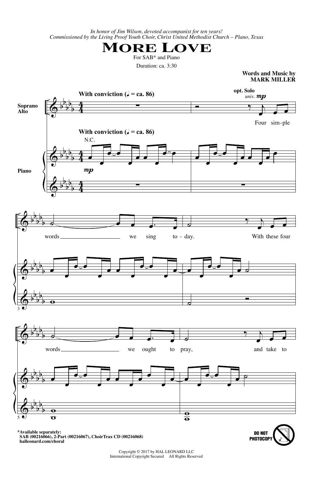 More Love (SAB Choir)