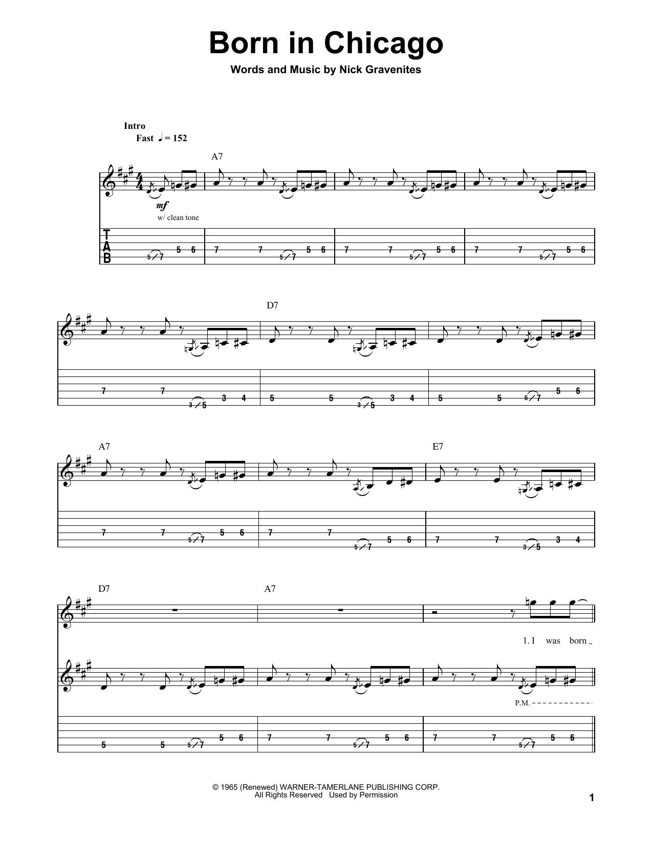 Born In Chicago (Guitar Tab (Single Guitar))