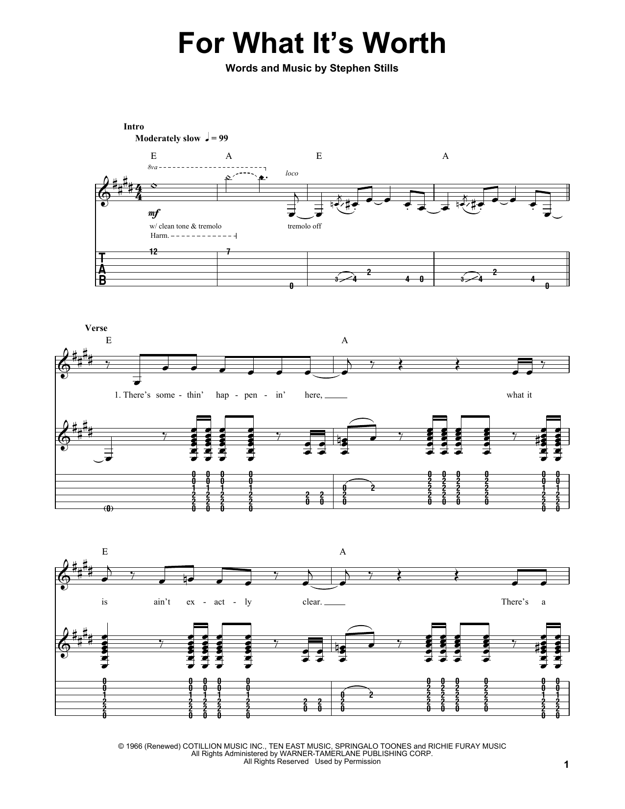 For What It's Worth (Guitar Tab (Single Guitar))