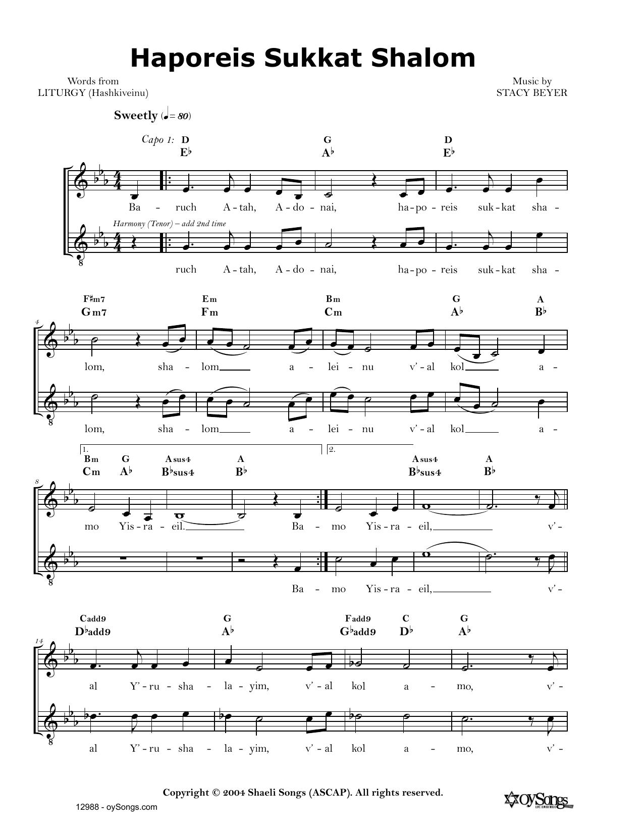 Haporeis Sukat Shalom (Real Book – Melody, Lyrics & Chords)