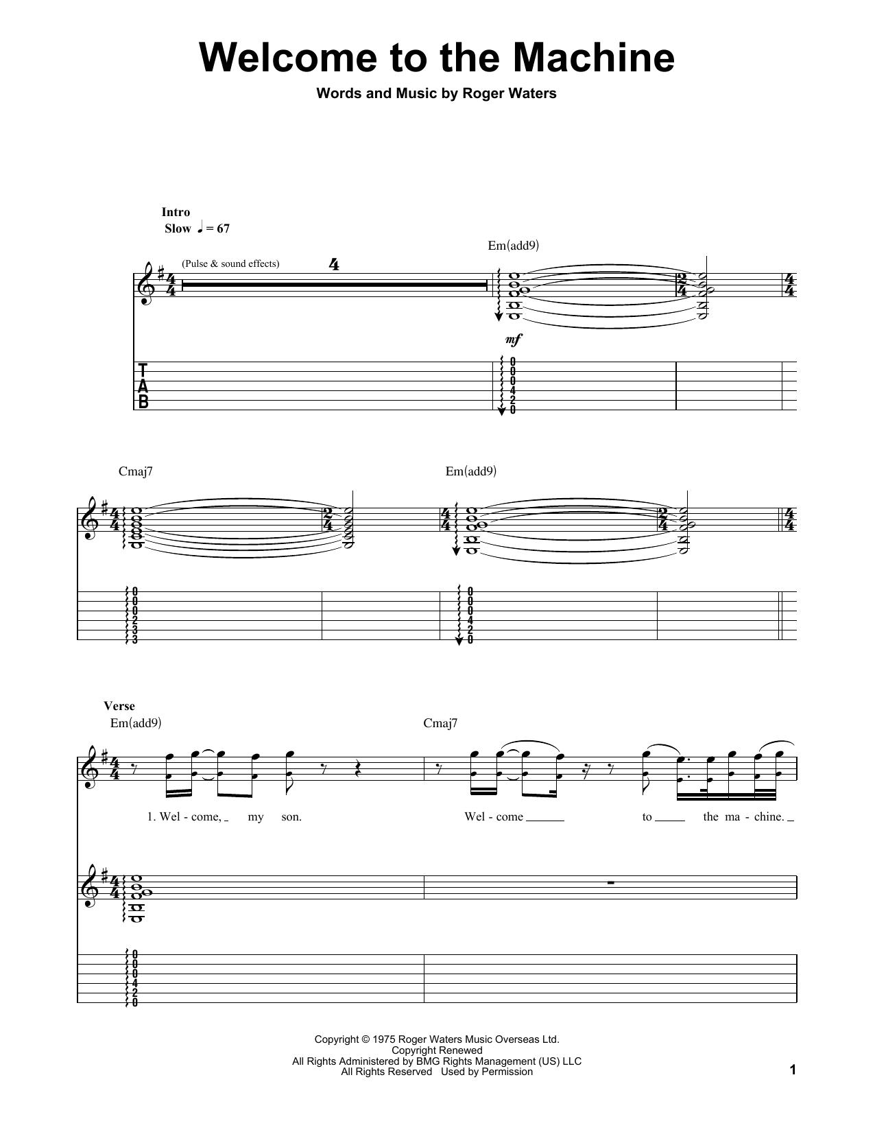 Welcome To The Machine (Guitar Tab (Single Guitar))