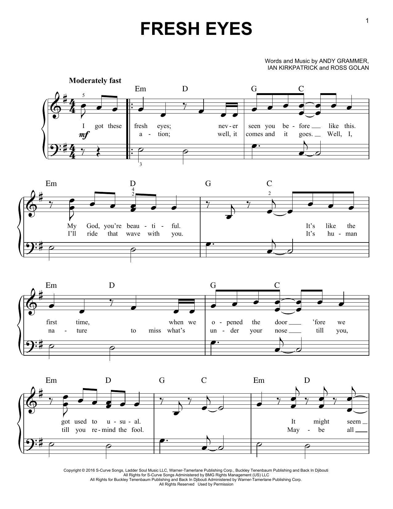 Fresh Eyes (Easy Piano)