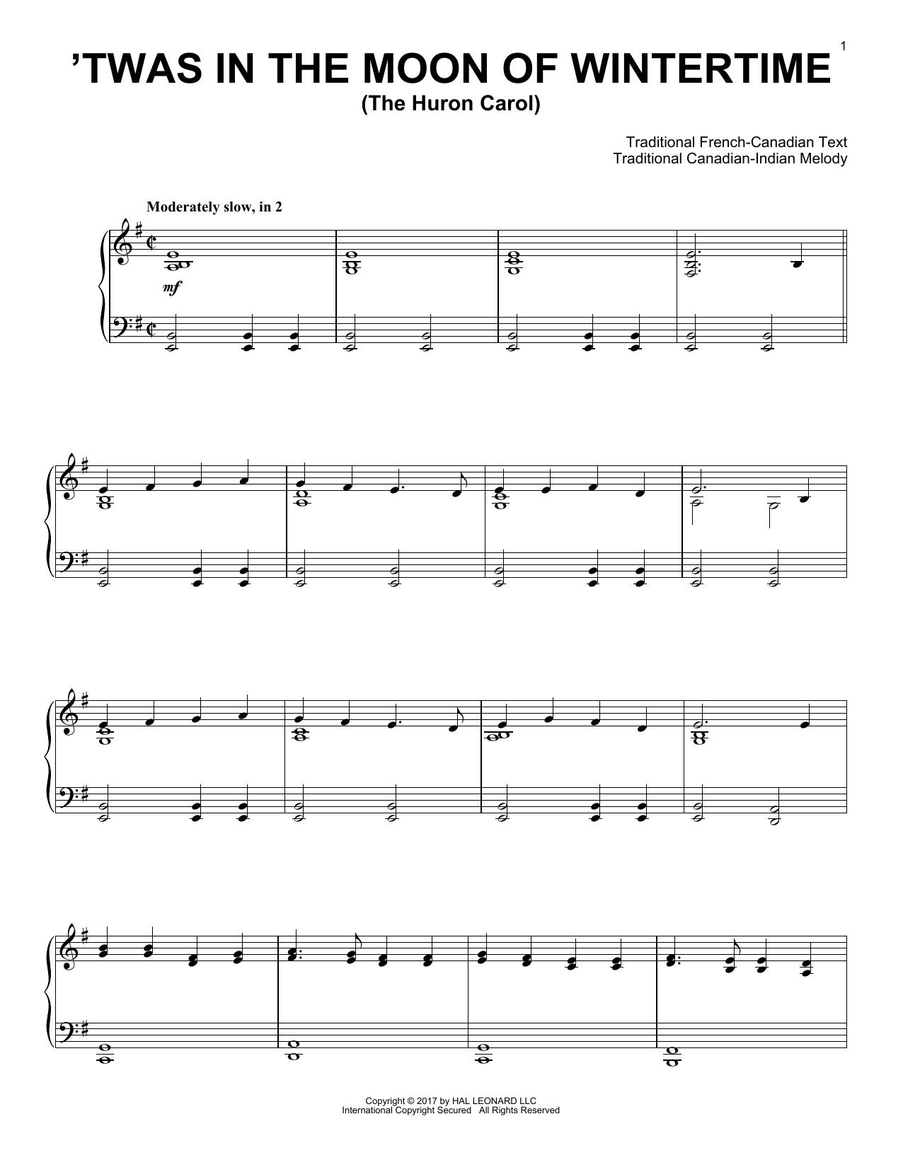 The Huron Carol ('Twas In The Moon Of Wintertime) (Piano Solo)