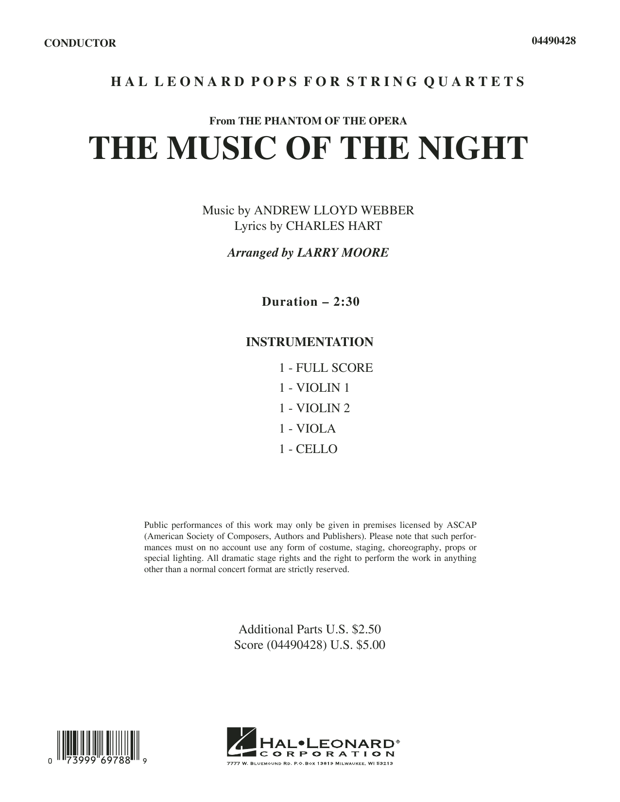 The Music of the Night (from The Phantom of the Opera) (COMPLETE) sheet music for orchestra (Strings) by Larry Moore, Andrew Lloyd Webber, Charles Hart, David Cook and Richard Stilgoe. Score Image Preview.