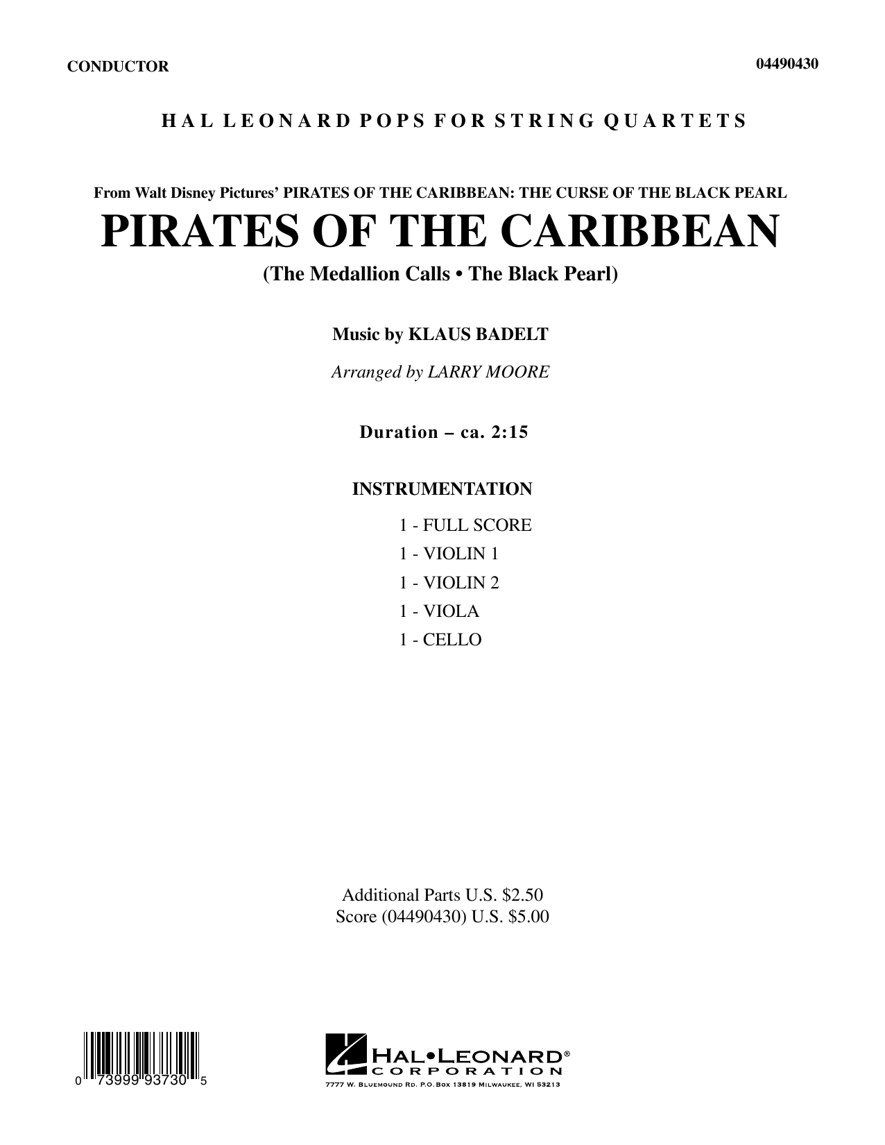 Pirates of the Caribbean (COMPLETE) sheet music for orchestra (Strings) by Larry Moore and Klaus Badelt. Score Image Preview.
