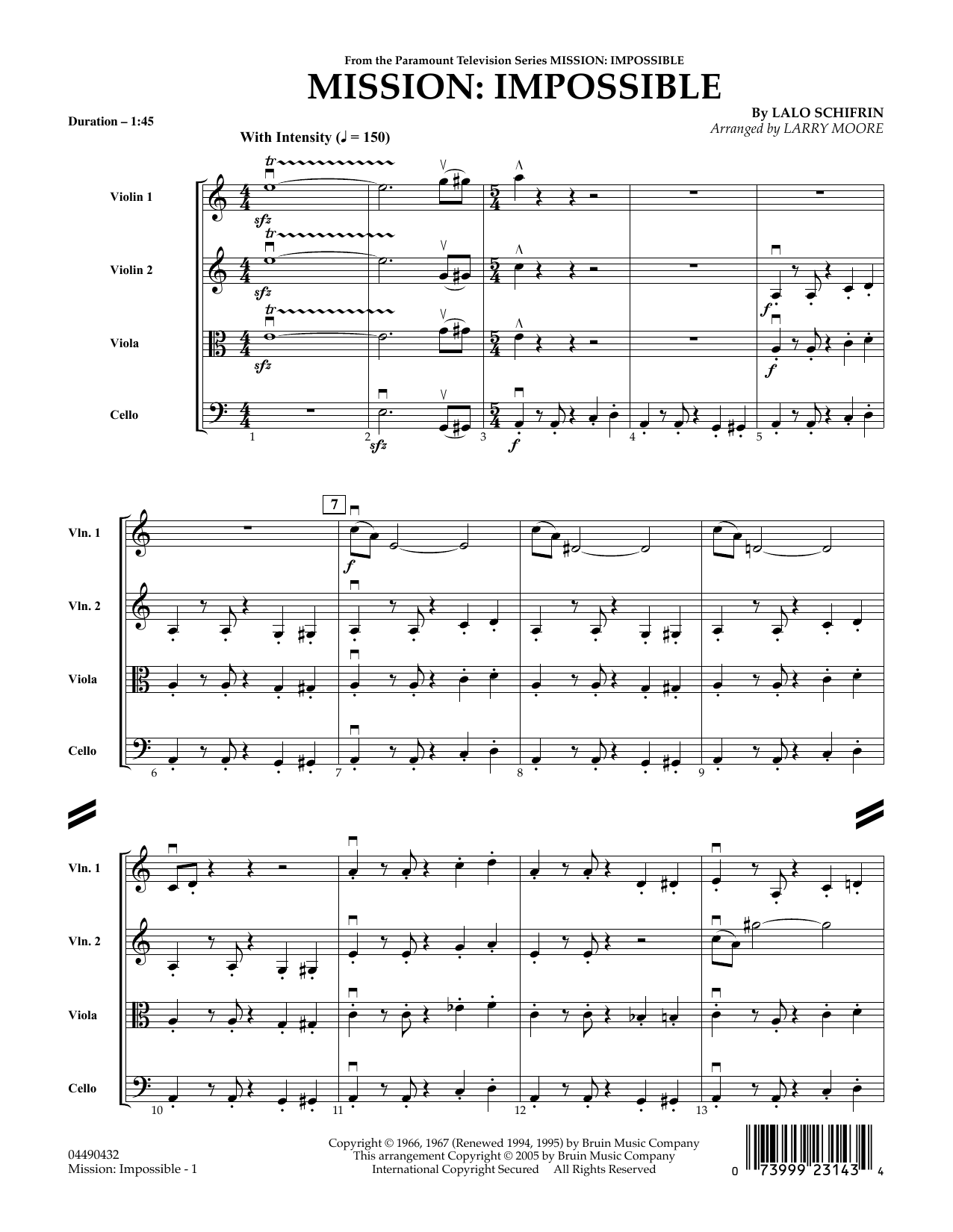 Mission: Impossible Theme (COMPLETE) sheet music for orchestra (Strings) by Larry Moore and Lalo Schifrin. Score Image Preview.