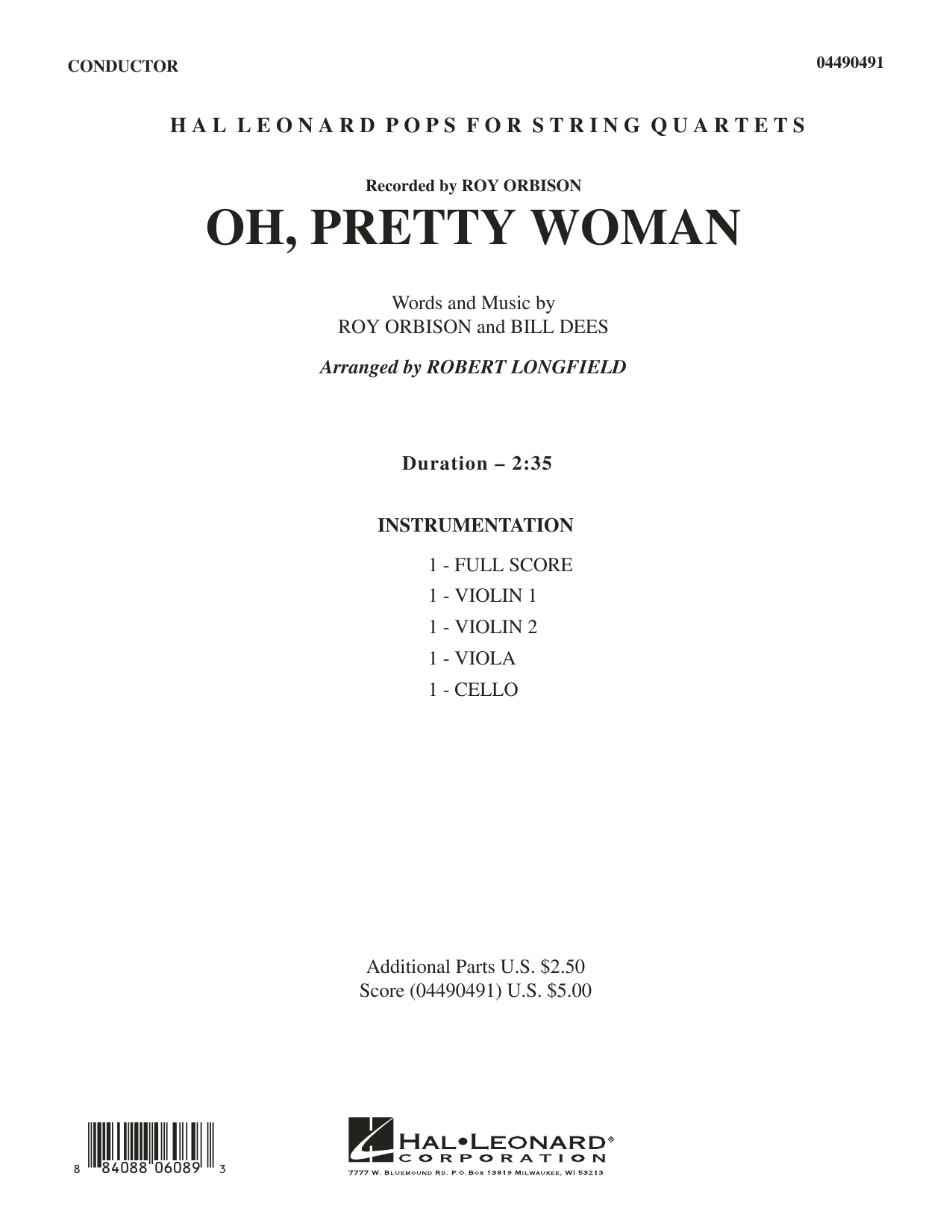Oh, Pretty Woman (COMPLETE) sheet music for orchestra (Strings) by Robert Longfield, Bill Dees, Edward Van Halen and Roy Orbison. Score Image Preview.