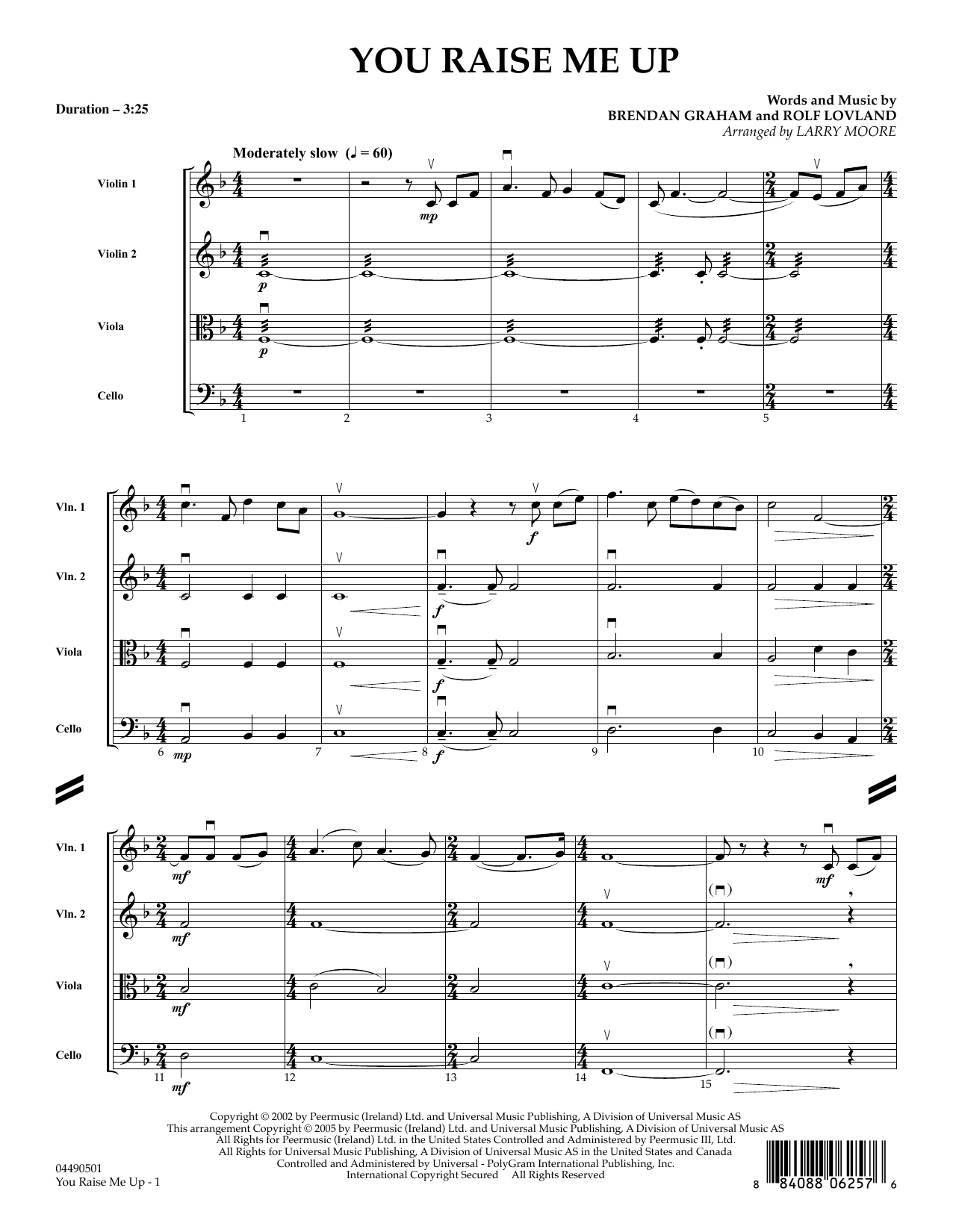 You Raise Me Up (COMPLETE) sheet music for orchestra (Strings) by Josh Groban, Brendan Graham, Larry Moore, Rolf Lovland and Secret Garden. Score Image Preview.