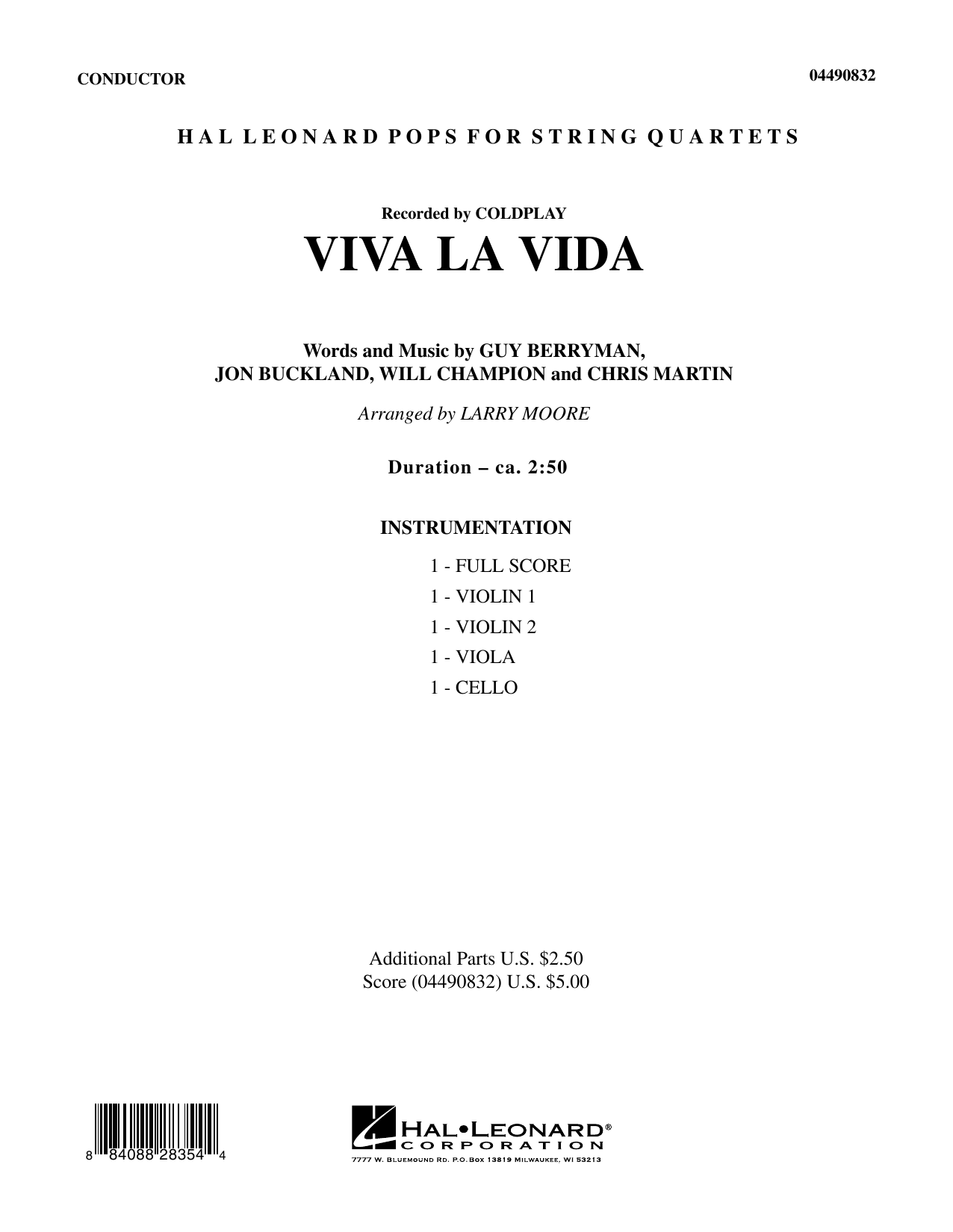 Viva La Vida (COMPLETE) sheet music for orchestra (Strings) by Will Champion, Chris Martin, Coldplay, Guy Berryman, Jon Buckland and Larry Moore. Score Image Preview.