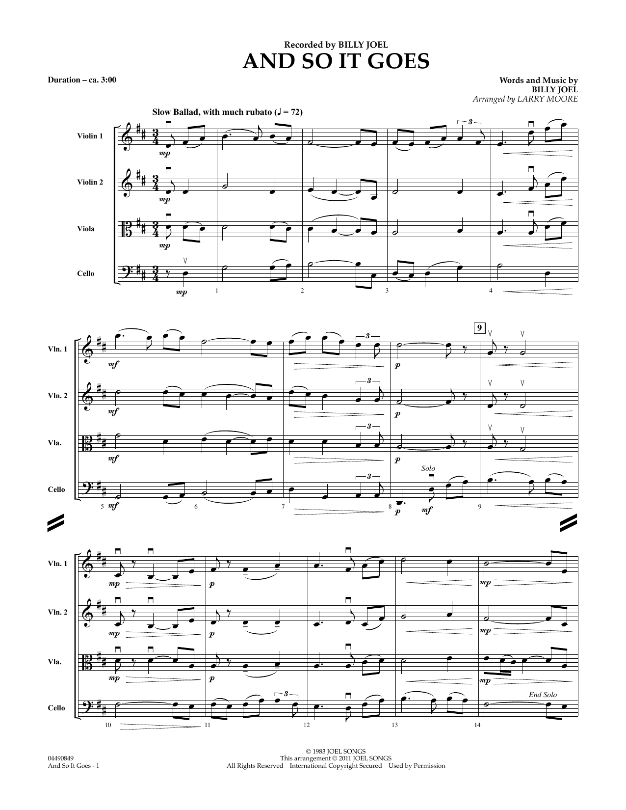 And So It Goes (COMPLETE) sheet music for orchestra (Strings) by Billy Joel and Larry Moore. Score Image Preview.