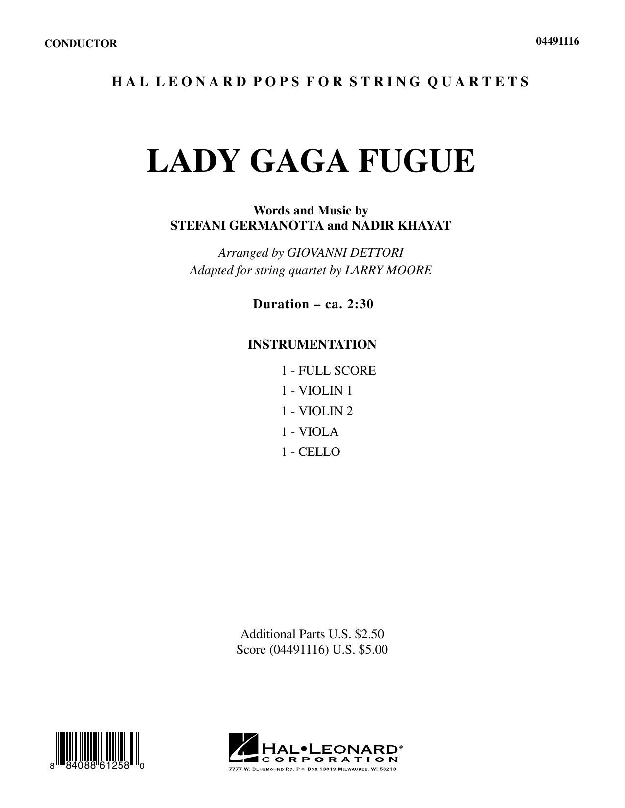 Lady Gaga Fugue - Full Score (String Quartet)