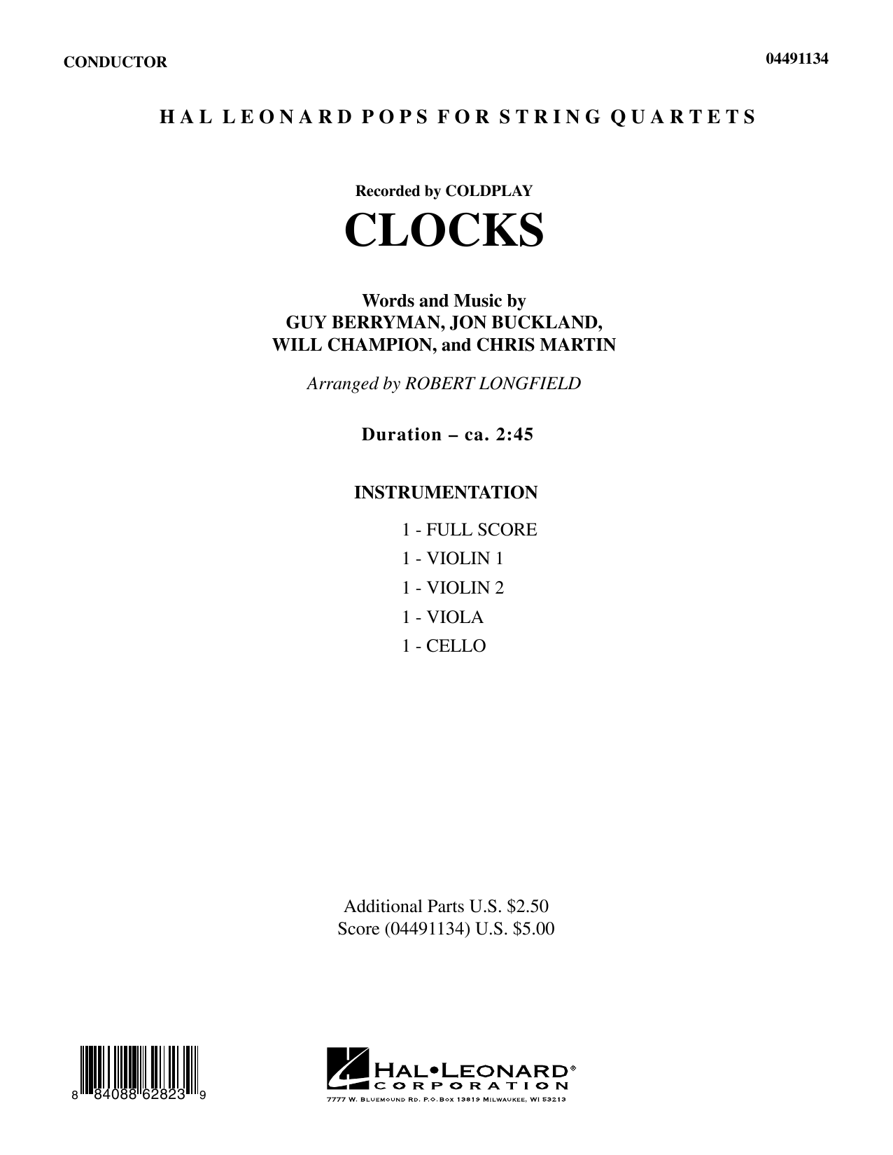 Clocks (COMPLETE) sheet music for orchestra (Strings) by Robert Longfield, Chris Martin, Coldplay, Guy Berryman, Jon Buckland and Will Champion. Score Image Preview.