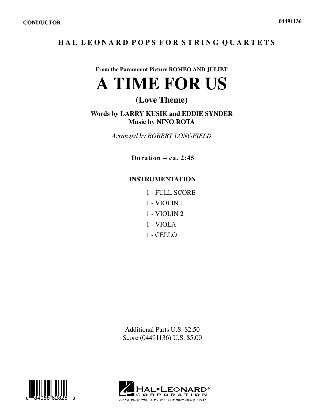 A Time for Us (from Romeo and Juliet) (COMPLETE) sheet music for orchestra (Strings) by Robert Longfield and Nino Rota. Score Image Preview.