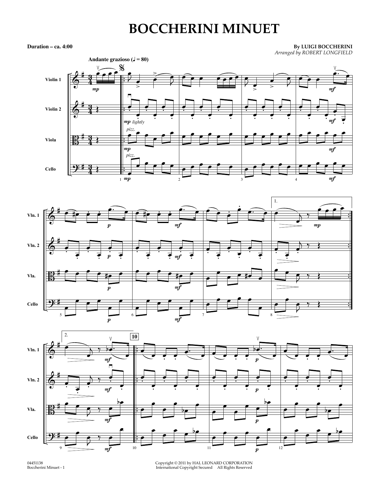 Boccherini Minuet (COMPLETE) sheet music for orchestra (Strings) by Robert Longfield and Luigi Boccherini. Score Image Preview.