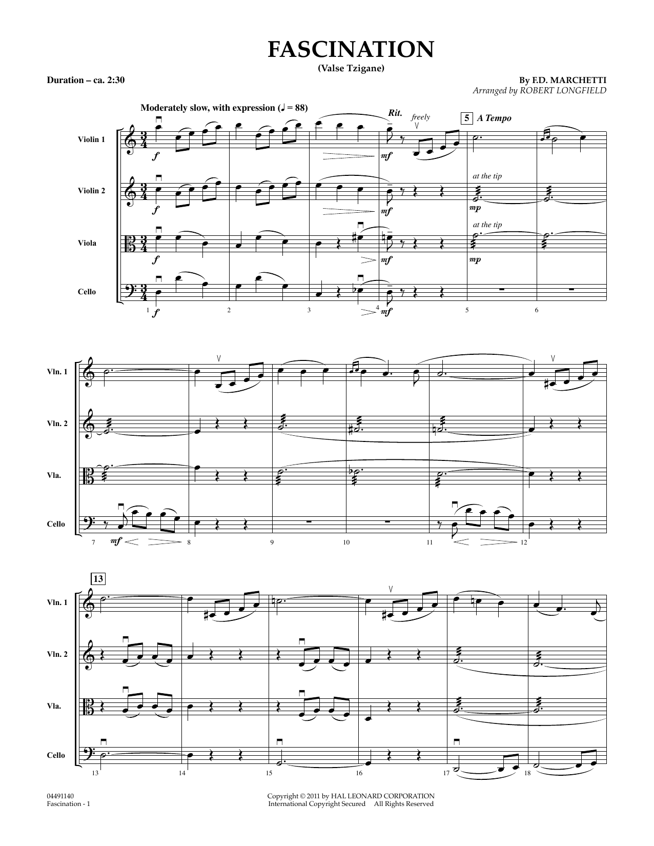 Fascination (Valse Tzigane) (COMPLETE) sheet music for orchestra (Strings) by Robert Longfield and Fermo Dante Marchetti. Score Image Preview.