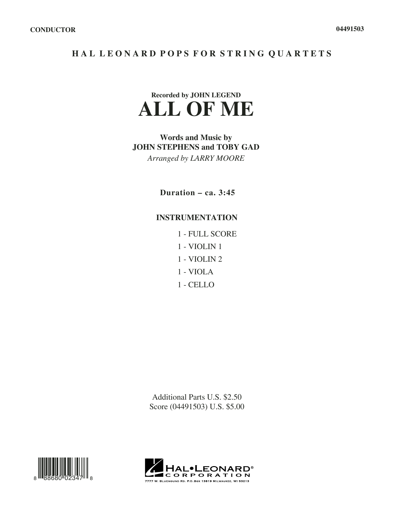 All of Me - Conductor Score (Full Score) (String Quartet)