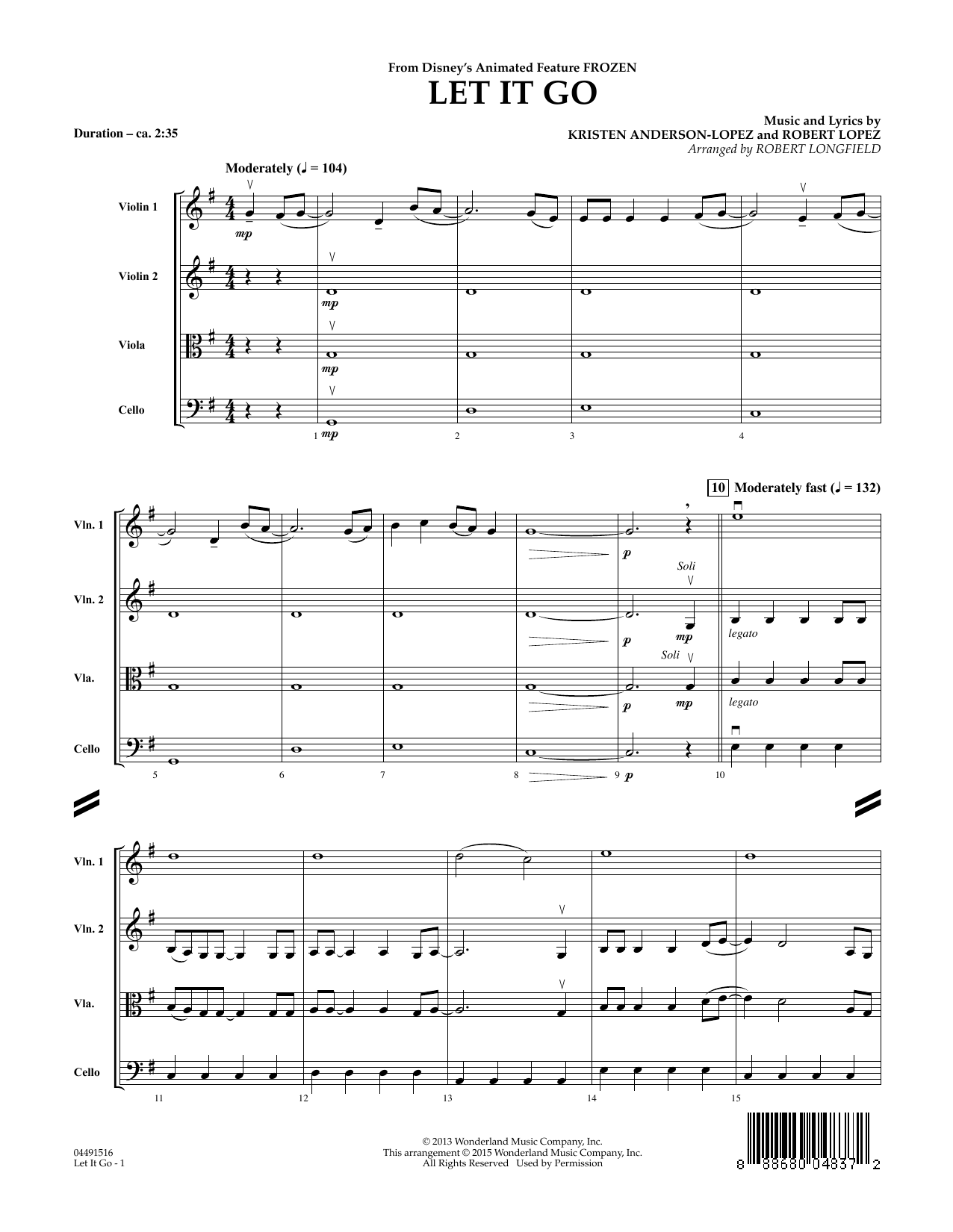 Let It Go (COMPLETE) sheet music for orchestra by Robert Longfield, Idina Menzel, Kristen Anderson-Lopez and Robert Lopez. Score Image Preview.
