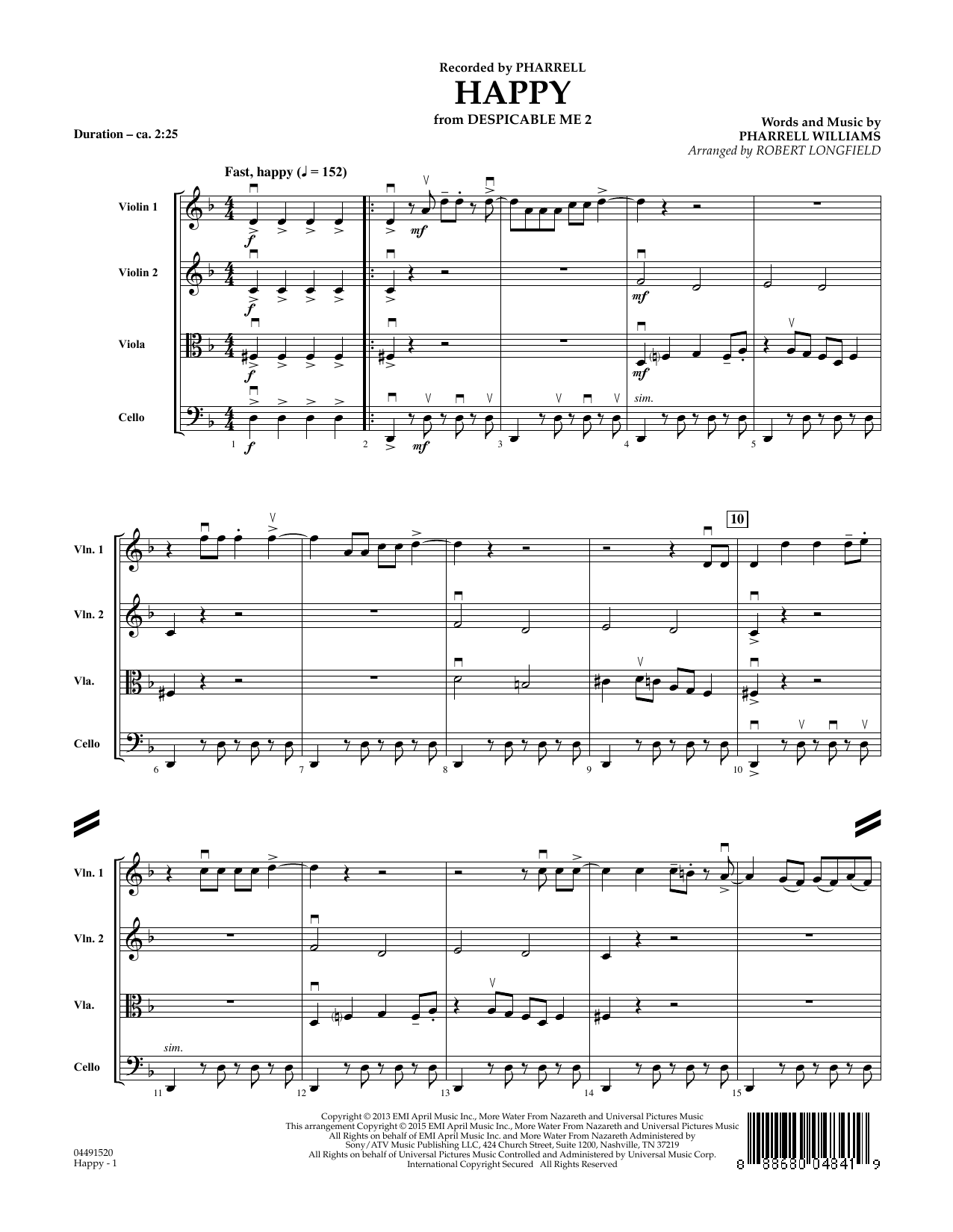 Happy (COMPLETE) sheet music for orchestra by Robert Longfield, Pharrell and Pharrell Williams. Score Image Preview.